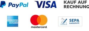 Paypal, Visa, Mastercard, Kauf auf Rechnung, Sepa Lastschrift, American Express